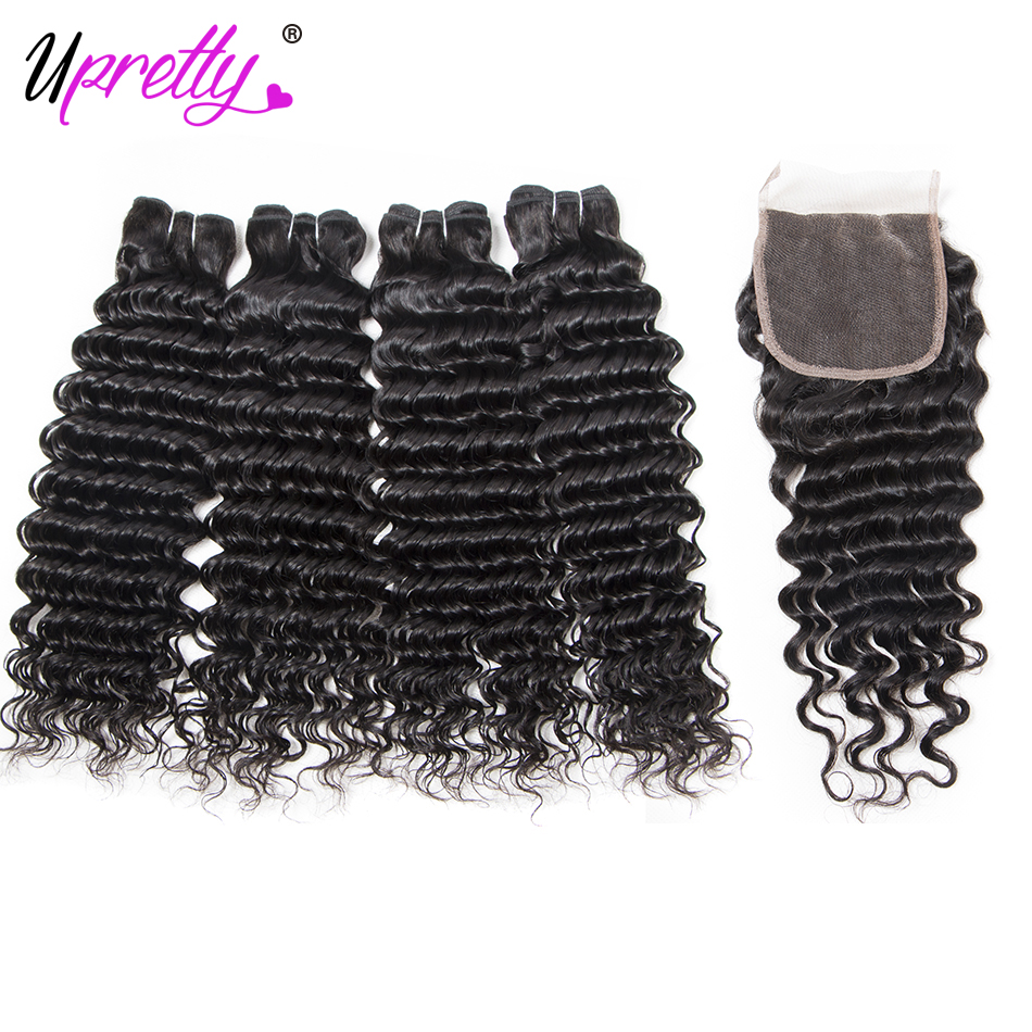 Upretty Hair Brazilian Deep Wave With Closure 100% Remy Human Hair 4 Bundles With Closure Deep Wave Curly Hair Extensions