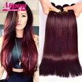 Бразильские волосы девственницы прямо 99j Бордовый цветные бразильские волосы 4 шт. бесплатная доставка виргинский бразильский прямые волосы человеческих волос