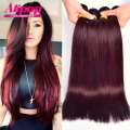 brazilian virgin hair straight 99j Burgundy colored brazilian hair 4 pcs free shipping virgin brazilian straight hair human hair