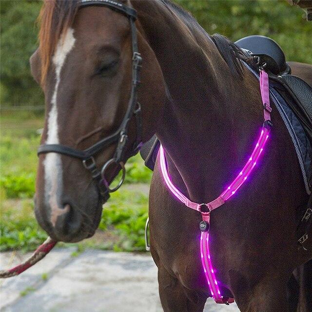 充電式 LED 馬ハーネス首輪マルチカラーオプションのデュアル LED 強力なライト馬術乗馬安全をホールター