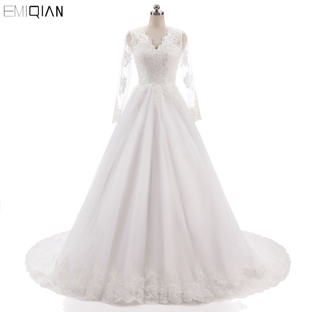 Robe de noiva Vintage Manches Longues Robes de Mariée Décolleté En V Dos Nu Dentelle Appliques Robes de Mariée Cour Tain Robes de Mariée