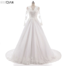 Vestido de noiva Vintage lange mouwen trouwjurken V hals backless kant applicaties bruidsjurken Hof Tain Bride jurken