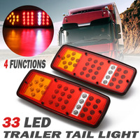 2Pcs 12V 33LED Trailer Truck Tail Light For Van Boat Caravans Rear Indicator Reverse Stop Lamp
