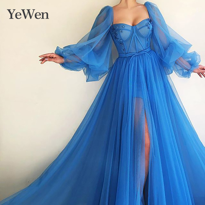 Sexy   Evening     Dress   2019 Tulle Long Sleeve   Evening     Dresses   Elegant Formal   Dress   Royal Blue Special Occasion   Dresses   YM20290