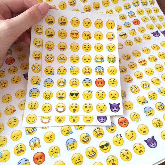 (1 hoja/) sonrisa Emoji cara pegatinas diario publicado Kawaii planificador Memo etiqueta engomada del Scrapbooking papelería juguete pegatinas