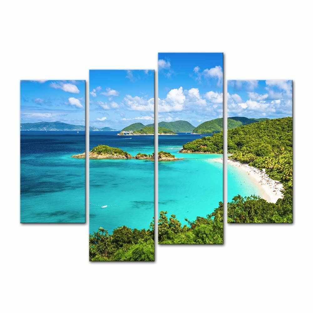 4 pieces / set of blue sky and white clouds island painting art wall decoration canvas painting paint in the paint framed