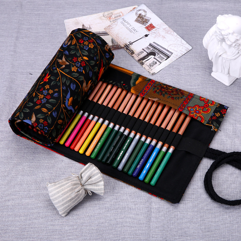 Vintage 36 48 72 holes pencil bag school canvas painting for Canvas roll for painting
