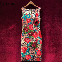 Svoryxiu Leopard Red Rose Flower Print Sexy Vintage Dress Women's Fashion Sequin Embroidery Vacation Party Elegant Runway Dress