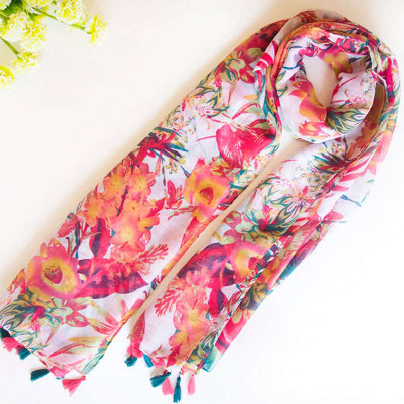 Fashion Women Flower printed Long Soft   Scarf     Wrap   Shawl Stole Pashmina   Scarves   Beach Female   Scarf