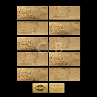 Wholesale Thailand Gold Banknote 1000 Baht Plated Fake Thailand Notes with Certificate Card for Souvenir