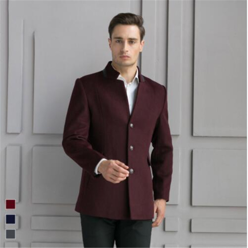 Jacket Coats Trench Wool Male Single-Breasted Casual Fashion Smart Outerwear Stand-Collar