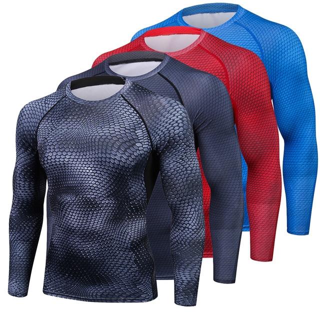 מתפתל 3D מודפס חולצות דחיסת הגברים חולצה תרמית חולצה שרוול ארוכה גברים פיתוח גוף כושר אטים מהיר יבש עור