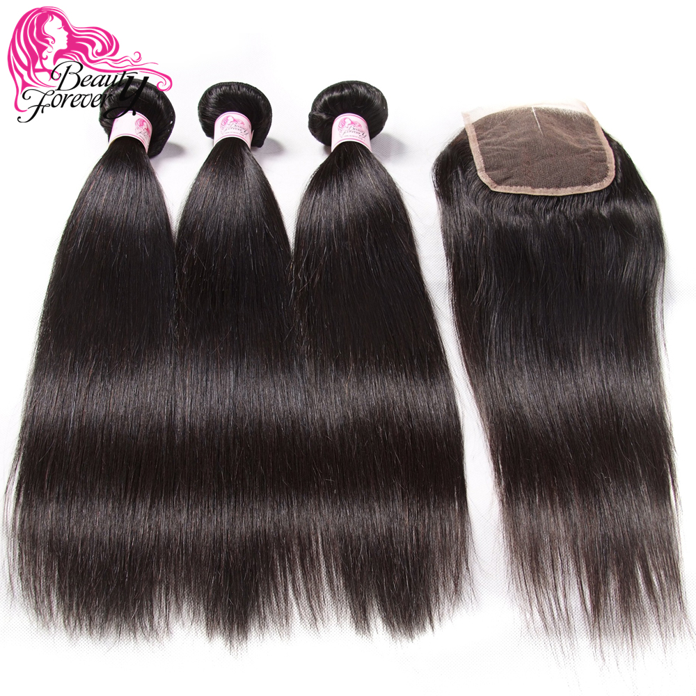 Beauty Forever Straight Malaysian Human Hair Bundles With Closure 4 4 Free Middle Three Part Remy