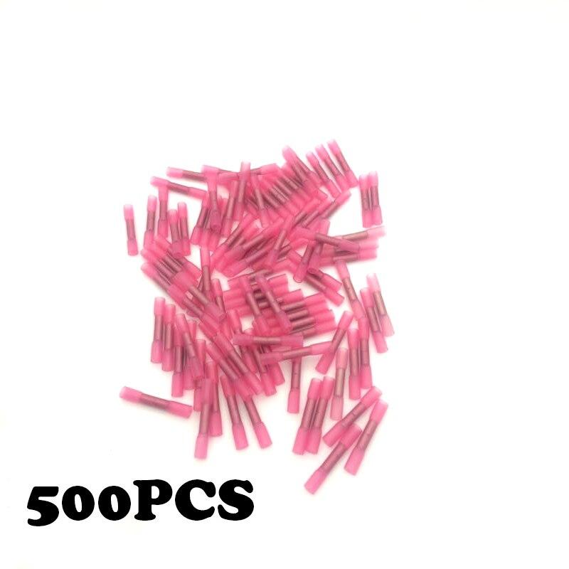 500 pcs BHT1.25 22-18AWG enveloppé fil étanche intermédiaire isolation thermorétractable butt connecteur terminal.