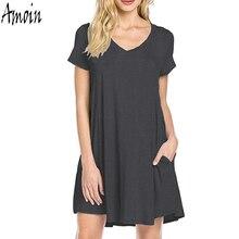Amoin Plus Size Women Loose Clothing New 2017 Women Tunic Dress Summer Fashion Short Sleeve Cotton Pocket Casual T-shirt Dress
