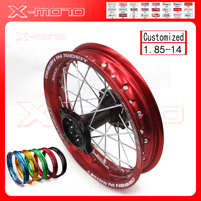 14 Dirt Pit Bike Rear Wheels 1.85x14 inch For KAYO BSE Apollo Xmotos CRF50 CRF70 KLX110 TTR110 125 140 160cc MX Spare Parts image