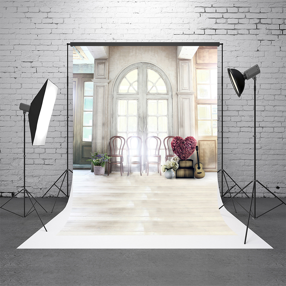 Kate White Indoor Wedding Photostudio Background Window Microfiber Washable Photo Backdrops Flower Props Photography Photobooth