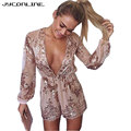 Elegant Women Jumpsuit Sexy Bodysuit Women Gold Sequin Rompers Womens Jumpsuit 2017 Deep V Neck Playsuit Long Sleeve Overalls