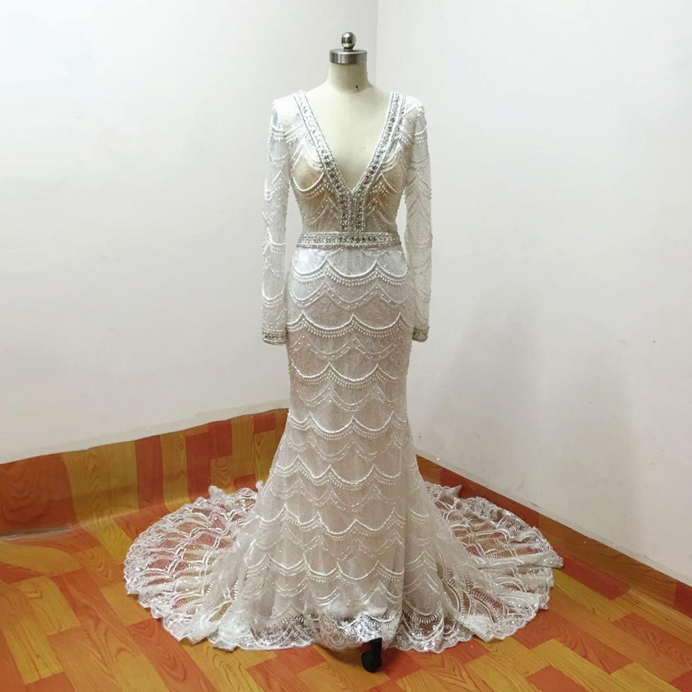 šitý na míru šatek Mermaid Svatební šaty 2015 dlouhé rukávy V - Svatební šaty - Fotografie 3