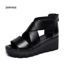 лучшая цена New Fashion Cow Leather Shoes Woman Platform Wedges Sandals 2019 Elegant Comfortable Casual Sandals Summer Women Sandals