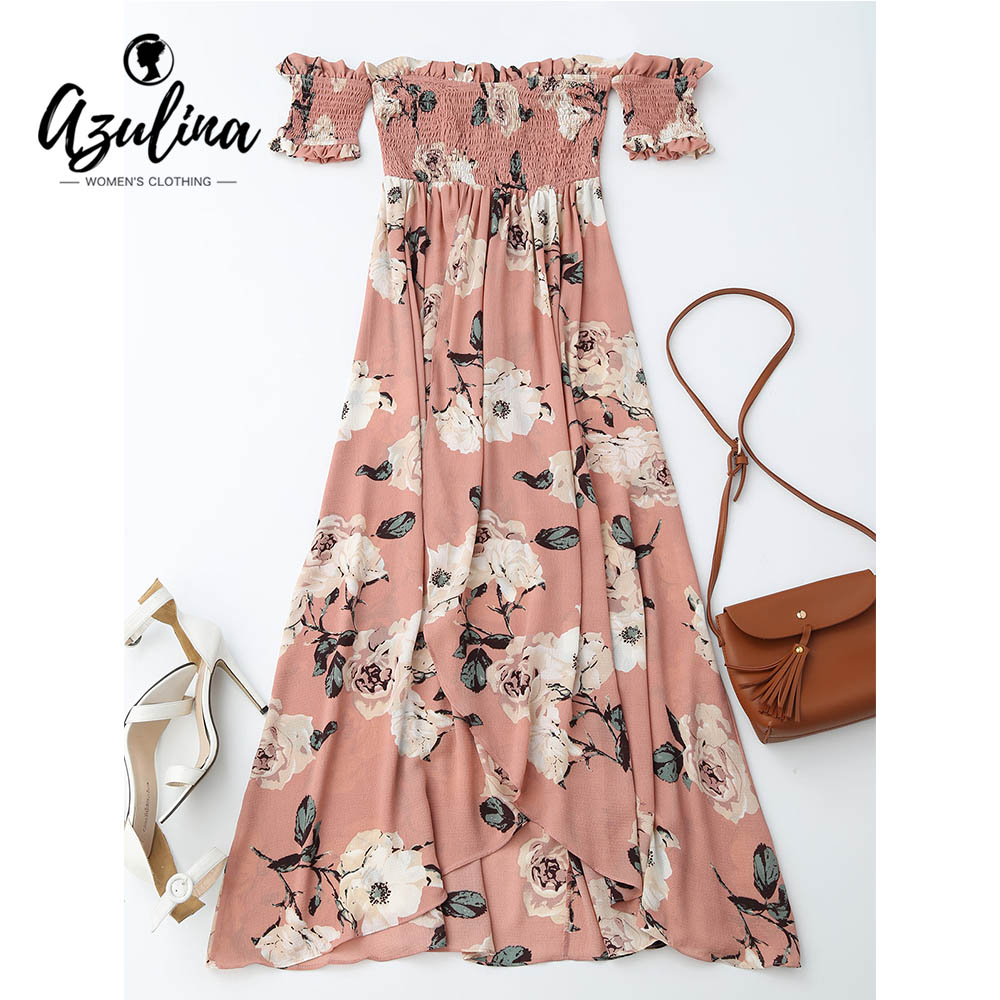AZULINA Ruffles Off Shoulder Shirred Floral Maxi Dress Boho Tunic Women Short Sleeve Bohemian Long Dress Female 2017 Robe Femme 1