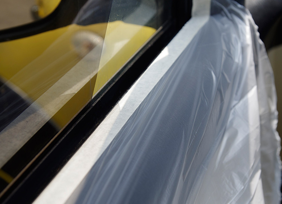 Image 4 - Spray Paint Protection Film Pre Taped Plastic Drop Cloth Masking Film For Plasti Dip Masking MO 106W 0.55x25m/ Roll-in Car Stickers from Automobiles & Motorcycles