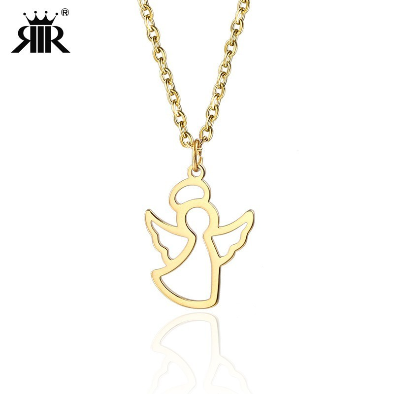 099e9e9d9a619 RIR Women Gold Angel Medallion Necklace Minimalist Guardian Little Fairy  Angel Pendant Necklaces Jewelry In Stainless Steel