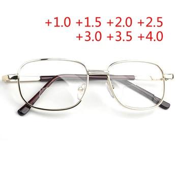 Full Metal Frame Glass Lenses Female Male Double Light Reading Glasses Women Men Unisex Eyewear +1.0 +1.5 +2 +2.5 +3 +3.5 +4