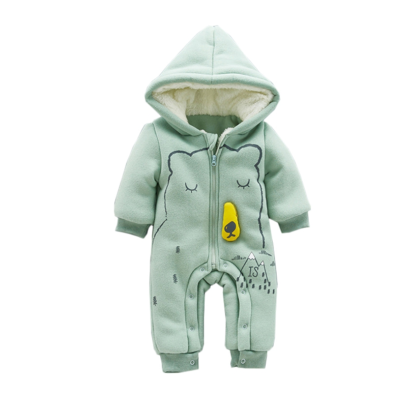 Winter Warm Fleece Baby Rompe Thicken Cotton Jumpsuits Newborn Zipper Hooded Rompers Long Sleeve Coverall Casual Infant Clothes warm thicken baby rompers long sleeve organic cotton autumn