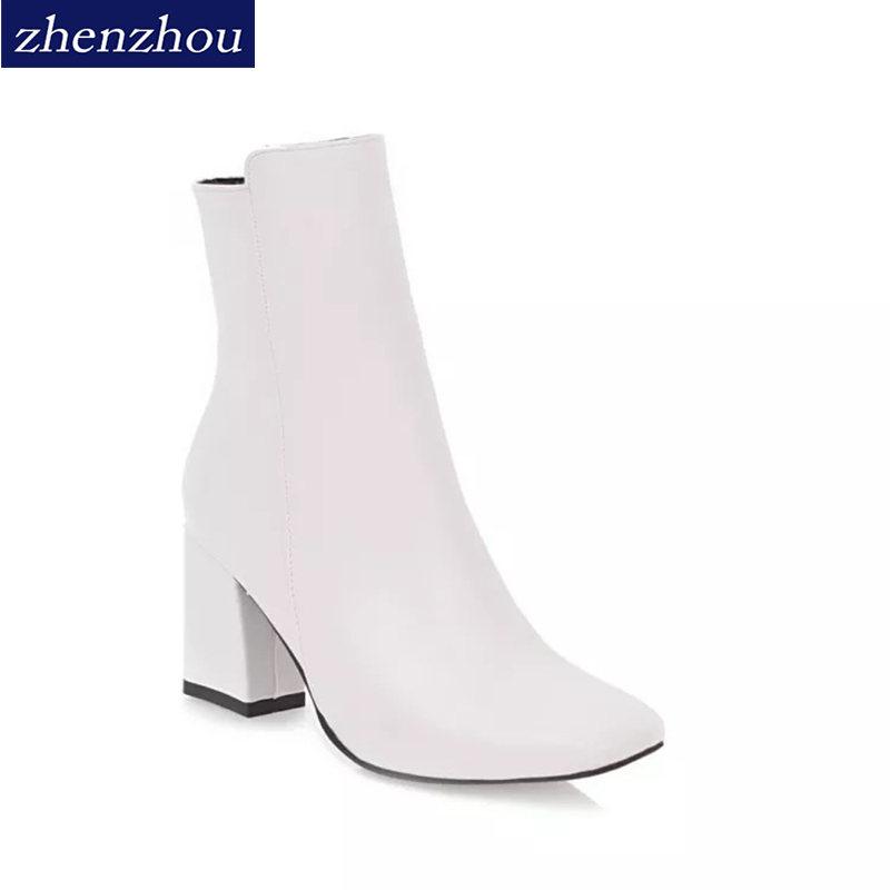 ZHENZHOU New Retro British Style Fashion Martin Boots For Ladies All-match Square Head Short Tube Dressy Women Boots 35-43 ...