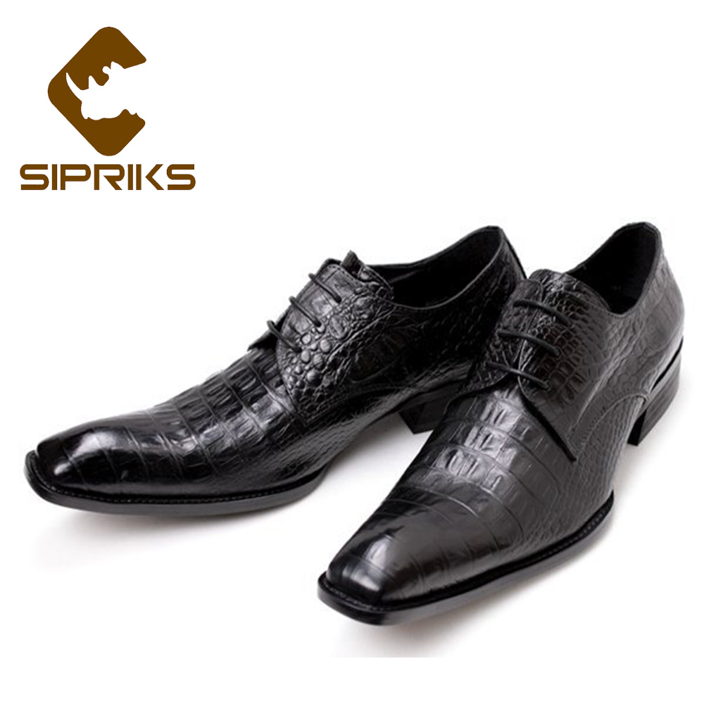 Sipriks Size 36 48 Mens Printed Crocodile Skin Black Casual Shoes Square Toe Dress Shoes For Boss Gents Suits Social Office Shoe-in Formal Shoes from Shoes    1