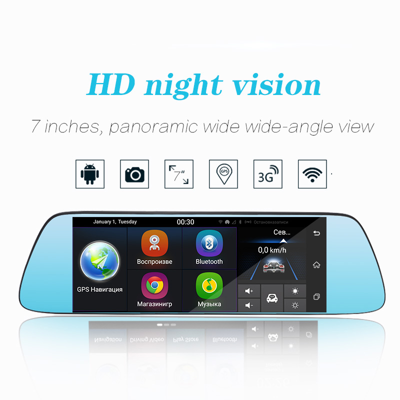 3G 71080P Dash Camera Car DVR Mirror Camera Android 5.0 WIFI GPS Video Recorder Touch Screen Dual Lens Registrar Rear View Dash