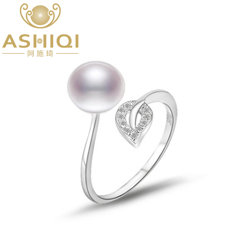 ASHIQI Natural pearl 925 Sterling Silver Rings Leaf jewelry 8-9mm Real freshwater pearl  ...