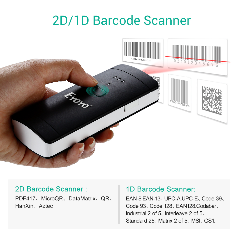 EYOYO EY-002S Wireless 2D Scanner 1D 2D PDF417 QR Code Pocket Wireless Barcode Scanner For Android IOS Mac Windows eyoyo ey 002s wireless 2d scanner 1d 2d pdf417 qr code pocket wireless barcode scanner for android ios mac windows