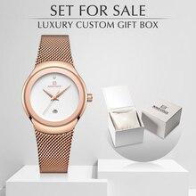Naviforce relógio feminino de quartzo, relógio de pulso feminino moderno, impermeável, com caixa, conjunto para venda, simples, relógio feminino