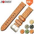 Zlimsn itália couro pulseiras cinta faixa de relógio de aço inoxidável fivela de fecho dos homens fortes faixa preta 20mm 22mm 24mm 26mm relogio