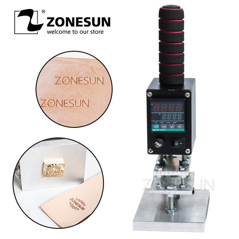 купить ZONESUN Hot Foil Stamping Machine Marking Press Embossing Machine Hand Operate Branding Machine Leather Printer Creasing Machine онлайн