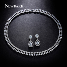 NEWBARK Luxury Wedding Jewelry Set Statement Choker Necklaces Pear And Oval Cz Diamond Drop Earrings Silver Color Love Gifts