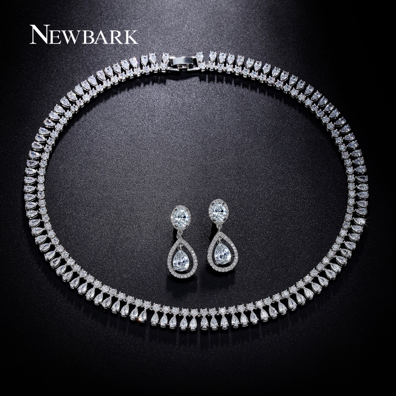 купить NEWBARK Luxury Wedding Jewelry Sets Silver Color Cubic Zirconia Water Drop Earrings And Necklace Love Gifts For Bridal Best Gift недорого