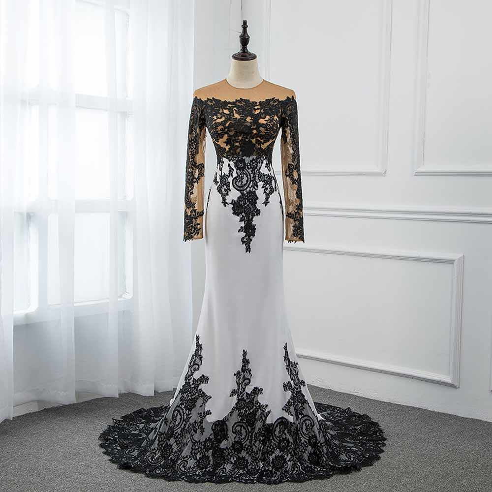 CAZDZY Elegant Black and White Full Sleeve Prom Dresses 2018 Knitting Lace Women  Dress Real Photos 8aff9bc01d30