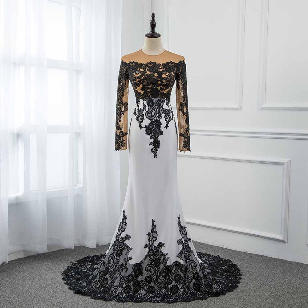 CAZDZY Elegant Black and White Full Sleeve   Prom     Dresses   2018 Knitting Lace Women   Dress   Real Photos