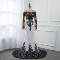 White Long Evening Prom Dress Sleeve Appliques black lace sweep train Formal Women Gown Robe De Soiree
