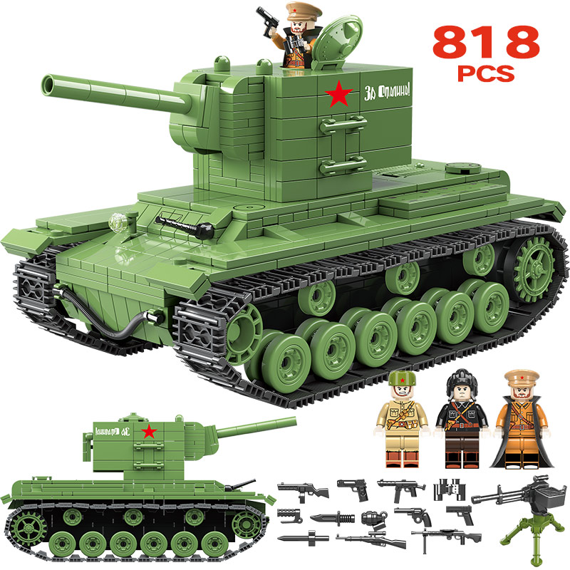 818PCS Military KV 2 Heavy Panzer Jedi Tank Building Blocks Compatible Legoingly WW2 City Police Soldier Bricks Toys for Boys818PCS Military KV 2 Heavy Panzer Jedi Tank Building Blocks Compatible Legoingly WW2 City Police Soldier Bricks Toys for Boys