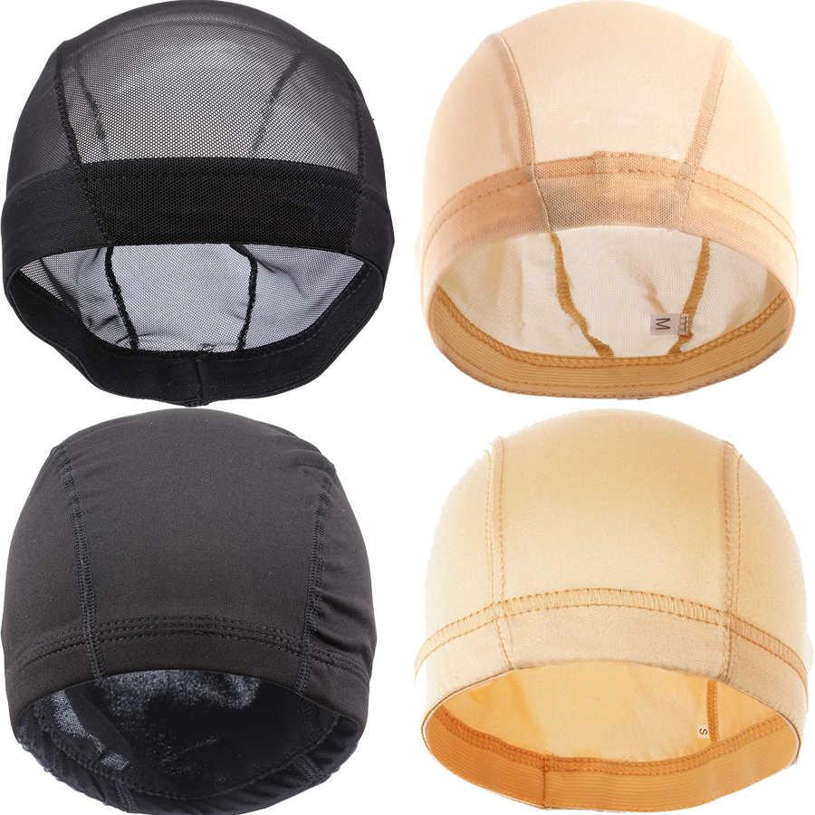 AliLeader ตาข่ายสานหมวกสีดำ Beige สีบลอนด์ Breathable ยืด Spandex Dome หมวกสำหรับทำวิกผม S M L