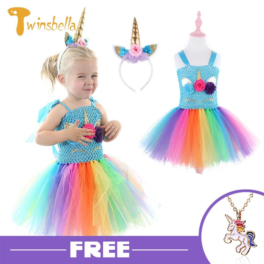 Günstige Verkauf My little Poli Geburtstag Kleid Für Mädchen Kinder Kleidung Halloween Kostüm Regenbogen Niedliche Pony Prinzessin Strand Party Kleid 8Y