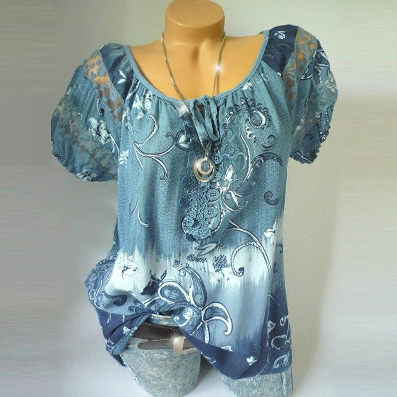 S-5XL Digital Print Lace Stitching Short Sleeve Shirt Women Blouse Casual Loose Chiffon Shirts Plus Size Tops White Blouse Blusa