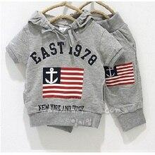 Комплект из серой толстовки с капюшоном и штанов свитер с изображением морского флага одежда для малыша хлопок