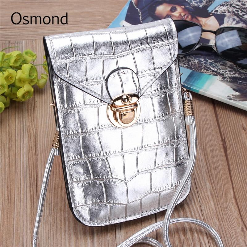 Osmond Women Mini Shoulder Bags Crocodile Grain Leather Girls Crossbody Bag  for Cell Phone Womens Solid 02610a69de