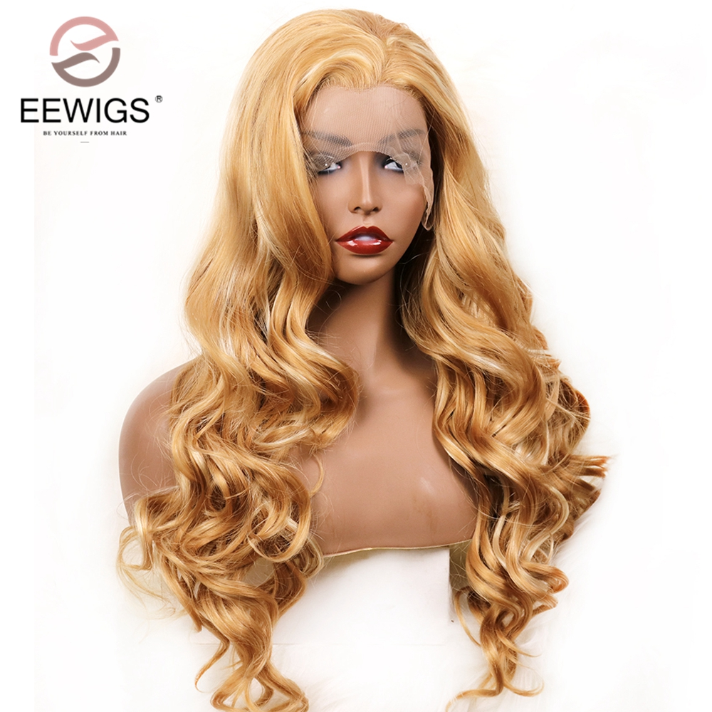 EEWIGS Glueless Highlights Honey Blonde Synthetic Lace Front Wig Heat Resistant Fiber 180 Density Long Wavy Wigs For Black Women