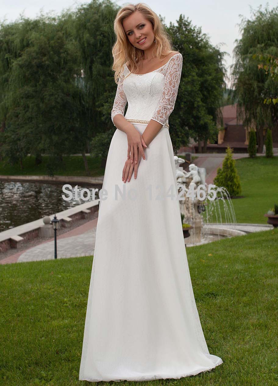 2016 customized a line column o neck zipper country for Wedding dresses for weddings